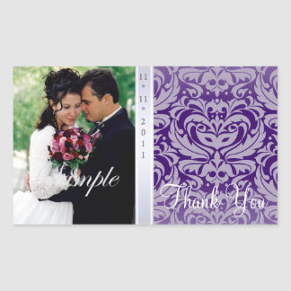 Purple Damask Thank You Photo Wedding Sticker