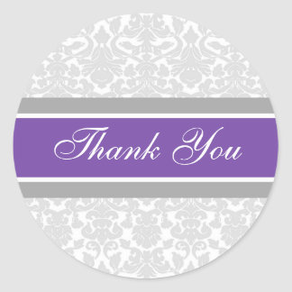 Purple Damask Thank You Wedding Envelope Seals