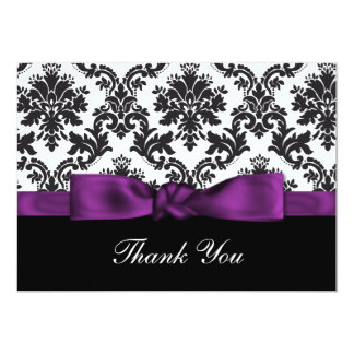 purple damask ThankYou Cards Personalized Announcements