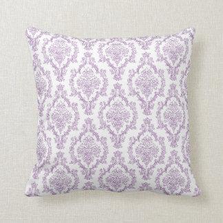 Purple Damask Throw Pillow