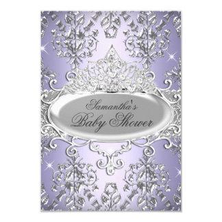 Purple Damask Tiara Princess Baby Shower Invite