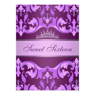 Purple Damask & Tiara Sweet16 Birthday Invite