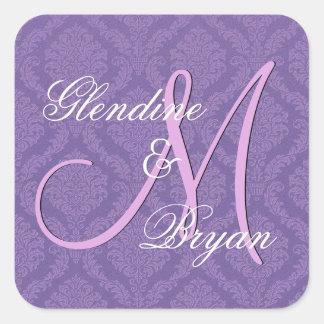 PURPLE Damask Wedding Bride Groom Monogram V2C Square Sticker