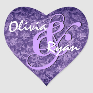 Purple Damask Wedding Heart Sticker