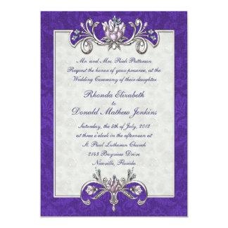 "Purple Damask Wedding Invitation 5"" X 7"" Invitation Card"
