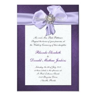 Purple Damask Wedding Invitation