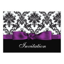 purple  damask wedding Invitations