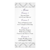 purple damask Wedding menu