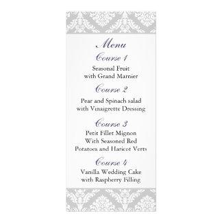 purple damask Wedding menu