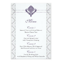 purple damask wedding menu card