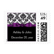 purple damask wedding postage