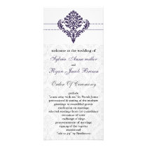 purple damask Wedding program