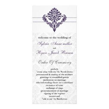 purple damask Wedding program