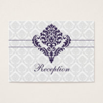 purple damask wedding Reception Cards