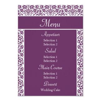 Purple Damask Wedding Reception Dinner Menu Announcements