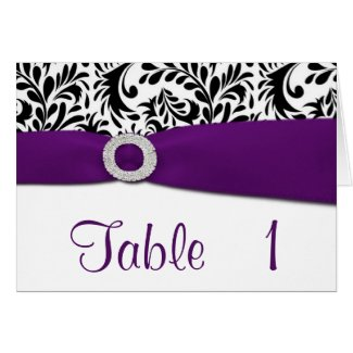 Purple Damask Wedding Reception Table Number Cards card