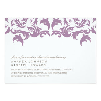 Purple Damask Wedding Rehearsal Dinner Invite