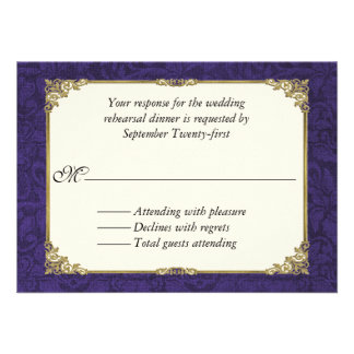 Purple Damask Wedding Rehearsal Dinner RSVP Card Personalized Invite