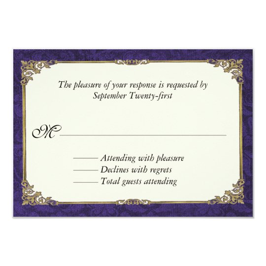 Purple Damask Wedding Response RSVP Card
