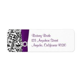 Purple Damask Wedding Return Address Seals label