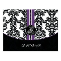 purple damask  Wedding rsvp card