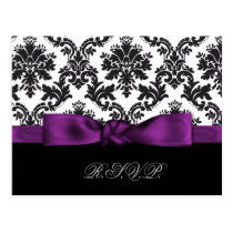purple damask wedding rsvp cards