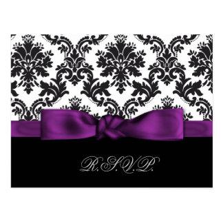 purple damask wedding rsvp cards