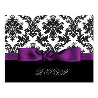purple damask wedding rsvp cards postcard