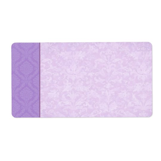 Purple Damask Wedding Set Label