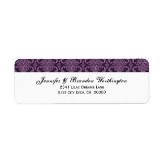 Purple Damask Wedding Set - Label