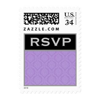 Purple Damask Wedding Set Postage Stamp
