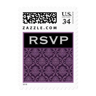 Purple Damask Wedding Set - Stamp