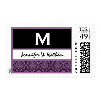 Purple Damask Wedding Set - Postage