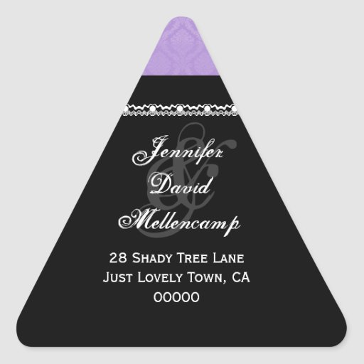 Purple Damask Wedding Set Stickers