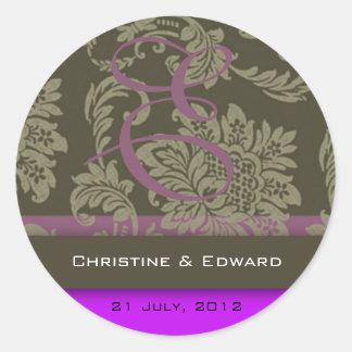 Purple Damask Wedding Sticker