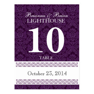 Purple Damask Wedding Table Number Card Reception