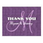 Purple Damask Wedding Thank You Monogram N802 Postcard