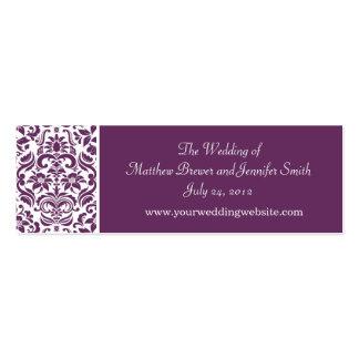 Purple Damask Wedding Website Information Cards Business Cards