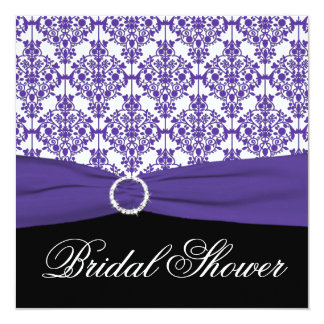 "Purple Damask with Black Bridal Shower Invitation 5.25"" Square Invitation Card"