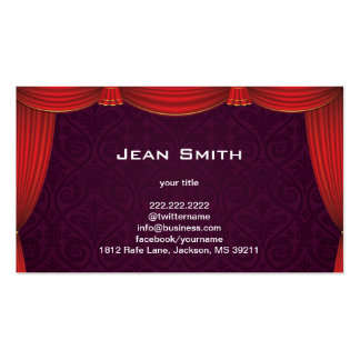 Purple Damask with Red Curtain Profile Card Double-Sided Standard Business Cards (Pack Of 100)