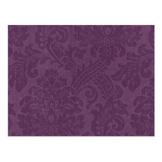 Purple DAmasks Pattern Background Postcard