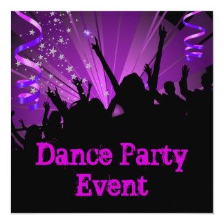 Purple Dance Party Event Crowd Rave 5.25x5.25 Square Paper Invitation Card