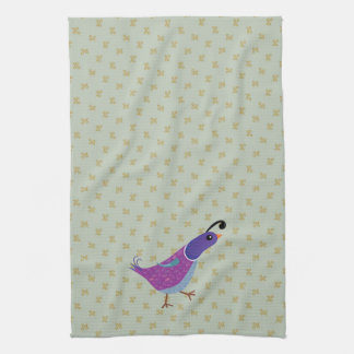 Purple Dancing Quail Kitchen Dish Towel