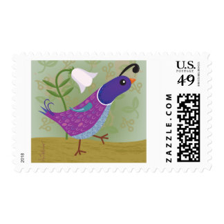 Purple Dancing Quail Postage Stamps