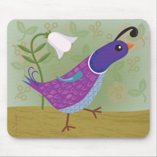 Purple Dancing Quail with Lily Mousepad