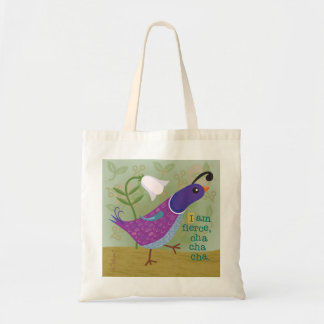 Purple Dancing Quail with Lily Tote Bag