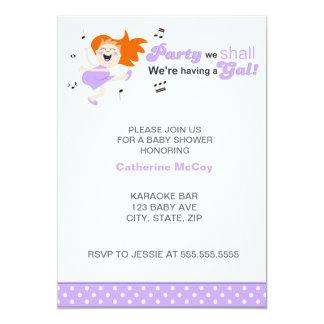 "Purple Dancing Redhead Mom-to-be girl baby shower 5"" X 7"" Invitation Card"