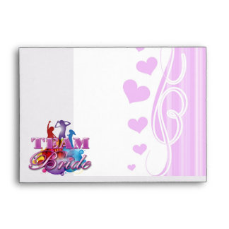 Purple dancing team bride bridesmaids bridal party envelope