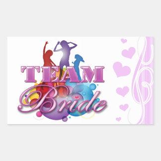 Purple dancing team bride bridesmaids bridal party rectangular sticker