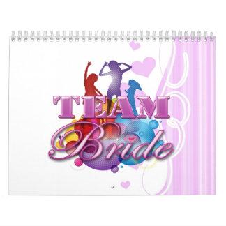 Purple dancing team bride bridesmaids bridal party calendar